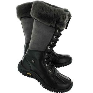 UGG Adirondack tall black grey boots leather suede